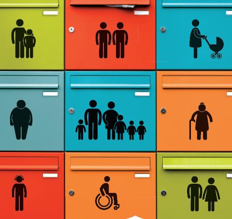 image sondage habitants de Villeurbanne représentant des boîtes aux lettres de couleurs